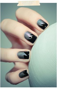 silver & black edgy tips by angie.eguez