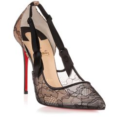 Black lace pump with silk strap details from Christian Louboutin. The Hot Jeanbi has 100mm stiletto heel, a low-cut back, and adjustable silk straps.True to sizeRed leather soleMade in ItalyCLICK for Louboutin red soles care advice!