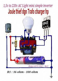 skema joule thief 1,5v to 220v ac led light