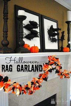 Halloween Fabric Tie Garland