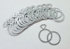 25 pcs Silver or Gold Glitter WEDDING RINGS by ShopPartyPaperPlus