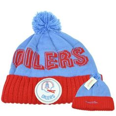 aaed8263e26 NFL Mitchell  amp  Ness KE30 Cuffed Pom Pom Vintage Knit Beanie Toque  Houston Oilers by