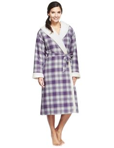 Per Una Pure Cotton Hooded Checked Dressing Gown