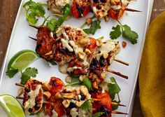 Chicken-Apricot Skewers. Yogurt, peanut butter, coconut milk, lime, jalapeno, cilantro marinade for grilled chicken and fresh apricots.