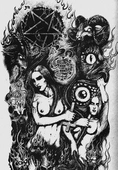 satanist,satanism-I think a lot of people fear responsibility. The idea of having every single thing you do in your life, both the good and the bad is Baphomet, Castle Tattoo, Witch Tattoo, Demon Tattoo, Dark Evil, Evil Demons, Satanic Art, Evil Art, Arte Obscura