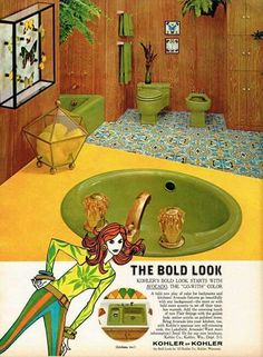 """50 years ago, home design got its groove on The pattern of this (most likely vinyl) floor in this 1967 Kohler ad for """"Avocado"""" bathroom fittings is incredibly similar to the Moroccan-inspired cement tiles so popular in bathrooms today. 1970s Decor, 70s Home Decor, Vintage Home Decor, Vintage Interior Design, Vintage Interiors, Classic Interior, Yellow Bathrooms, Vintage Bathrooms, Home Design"""