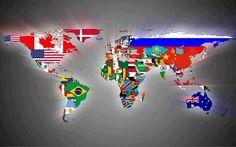 Mapa do mundo com bandeiras
