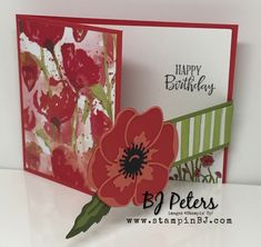 Blooming Painted Poppies – BJ's Stampin' Spot – Stamping up Fancy Fold Cards, Folded Cards, Roses Pink, Slider Card, Construction Paper Flowers, Poppy Cards, Stamping Up Cards, Nail Stamping, Card Tutorials