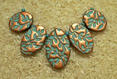 Leaves - Copper & turquoise polymer clay focal bead pendant set  by Sweet2Spicy, via Flickr