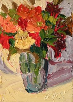 Autumn Bouquet ACEO Floral Original Painting, painting by artist Roxanne Steed