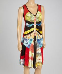 Love this Red Tie-Dye V-Neck Sleeveless Dress by Rising International on #zulily! #zulilyfinds