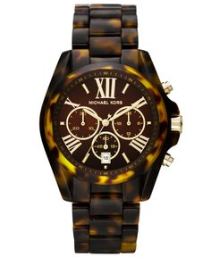 Michael Kors Watch, Women's Chronograph Bradshaw Tortoise Acetate Bracelet 43mm MK5839