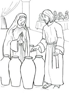 The start of Jesus' public ministry. Jesus and Mary at the wedding feast of Cana Catholic Coloring page.