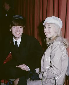 John and Cynthia Lennon at London airport before a flight to New York, February 7, 1964.