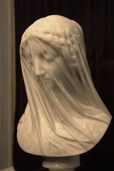 Jaw-dropping marble statue carved in the mid-1800s by Italian sculptor Giovanni Strazza, entitled 'The Veiled Virgin'.