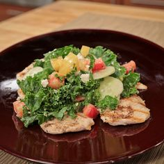 #Chicken With Kale, Cucumber And Tomato Feta #Salad - The Chew - ABC.com