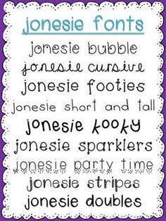 jonesie fonts... 18 cute fonts for personal or commercial use $