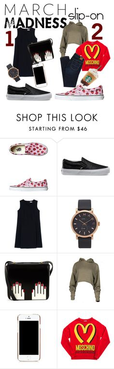 """March Madness;Slip-ons in 2 outfits"" by anthiath on Polyvore featuring Vans, Jil Sander, Marc Jacobs, Lulu Guinness, Moschino and American Eagle Outfitters"