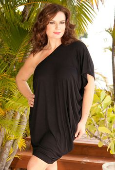 Beach Belle® Plus Size Black One Shoulder Shirred Dress