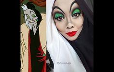 In this photo, Saraswati is transformed into Cruella Devil with her trademark hijab style. - Instagram @QueenofLuna