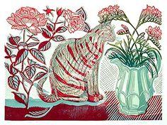 """Roses & Freesia"" - Richard Bawden (Linocut)"