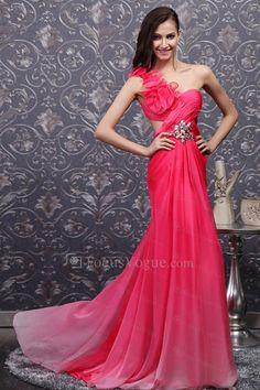 US $321.00   Chiffon One Shoulder Sweep Train Sheath Prom Dress with Crystal