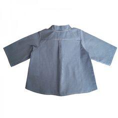 Chemise col mao GASPARD-dos-vichy bleu/blanc