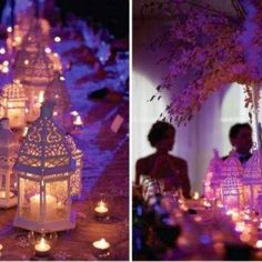 Non-floral centerpieces with Lanterns & Candles...pretty!