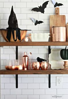 Halloween Kitchen Shelves -so simple and fun