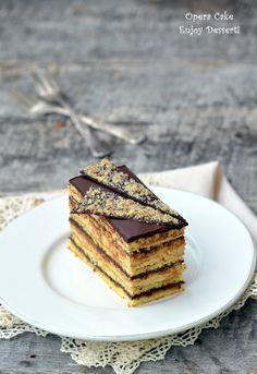 Prajitura Opera Opera Cake, Romanian Food, Something Sweet, Beautiful Cakes, Yummy Cakes, No Bake Cake, Chocolate Cake, Cupcake Cakes, Food Porn