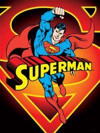 Bandera DC Comic. Superman, fuego, 101x76cm