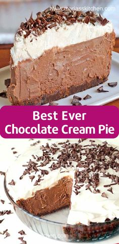 Easy and Delicious Chocolate Cream Pie Recipe - Maria's Kitc.-Easy and Delicious Chocolate Cream Pie Recipe – Maria's Kitchen - Pecan Desserts, No Bake Desserts, Easy Desserts, Easy Delicious Desserts, Recipes For Desserts, Sweet Desserts, Healthy Desserts, Smores Dessert, Pie Dessert