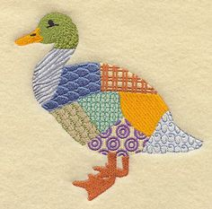 Patchwork Duck Embroidered Decorative by EmbroideredbySue on Etsy Girls Quilts, Baby Quilts, Machine Embroidery Designs, Embroidery Stitches, Quilting Projects, Sewing Projects, Bird Quilt, Embroidered Quilts, Animal Quilts