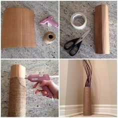 DIY vase from cardboard and twine – Vase Diy Cardboard Kitchen, Cardboard Crafts, Upcycled Home Decor, Handmade Home Decor, Easy Crafts, Decor Crafts, Cardboard Sculpture, Diy Dog Bed, Art Drawings For Kids