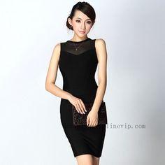 Herve Leger Round Neck Dress Hz227 All Black For Sale [e54c]