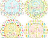 Baby Girl Monthly Onesie Stickers Plus Bonus Just Born - Butterfly Flowers Birds Diamonds Pink Green Blue Yellow - 1-12 Months - Shower Gift