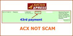 WOWWW Got my 43rd payment from AdClickXpress .. :)  Date: 06:10 17.09.15 To Pay Processor Account = U9489027 Amount: 70.85 Currency: USD Batch: 102244613 Memo: API Payment. Ad Click Xpress Withdraw 4406187-171061. Payment ID: 171061    Here is link... Join.. http://www.adclickxpress.com/?r=m5hshz29jwr&p=mx