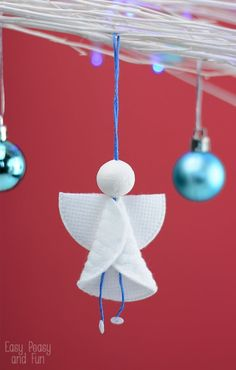 Cotton Rounds Angels Ornaments - Christmas Ornaments for Kids to Make - Easy Peasy and Fun Christmas Angel Crafts, Preschool Christmas, Christmas Ornaments To Make, Christmas Activities, Kids Christmas, Holiday Crafts, Christmas Decorations, July Crafts, Birthday Decorations