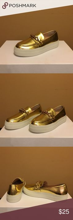 Gold Sneaker With Chain Old Sneaker With Chain. Size 6. Brand new never worn. J Slides Shoes Sneakers