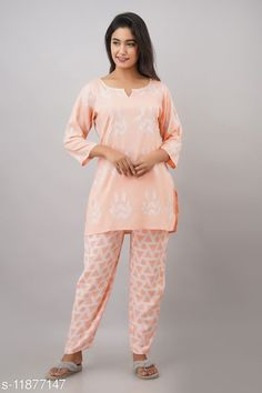 Checkout this latest Nightsuits Product Name: *Jivika Women Rayon Nightsuit* Top Fabric: Rayon Bottom Fabric: Rayon Top Type: Regular Top Bottom Type: Pyjamas Sleeve Length: Three-Quarter Sleeves Pattern: Printed Multipack: 1 Sizes: S (Top Bust Size: 38 in, Top Length Size: 30 in, Bottom Waist Size: 28 in, Bottom Length Size: 38 in)  M (Top Bust Size: 40 in, Top Length Size: 30 in, Bottom Waist Size: 30 in, Bottom Length Size: 38 in)  L (Top Bust Size: 42 in, Top Length Size: 30 in, Bottom Waist Size: 32 in, Bottom Length Size: 38 in)  XL (Top Bust Size: 44 in, Top Length Size: 30 in, Bottom Waist Size: 34 in, Bottom Length Size: 38 in)  XXL (Top Bust Size: 46 in, Top Length Size: 30 in, Bottom Waist Size: 36 in, Bottom Length Size: 38 in)  Country of Origin: India Easy Returns Available In Case Of Any Issue   Catalog Rating: ★4 (242)  Catalog Name: Women's Rayon Nightsuits CatalogID_2255512 C76-SC1045 Code: 254-11877147-1611