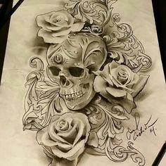 Flare Skull Rose Tattoos, Body Art Tattoos, Sleeve Tattoos, Tatoos, Skull Tattoo Design, Flower Tattoo Designs, Tattoo Designs For Women, Dog Tags Tattoo, Diy Tattoo