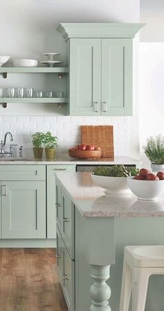 Uplifting Kitchen Remodeling Choosing Your New Kitchen Cabinets Ideas. Delightful Kitchen Remodeling Choosing Your New Kitchen Cabinets Ideas. Green Kitchen Cabinets, Farmhouse Kitchen Cabinets, Kitchen Cabinet Colors, Painting Kitchen Cabinets, Farmhouse Kitchens, Kitchen Cabinetry, Kitchen Countertops, Kitchen Colors, Beach Cottage Kitchens