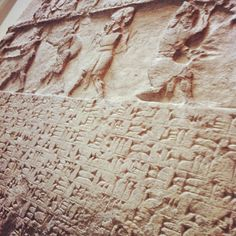 Assyrian wall panel, 728 BC Cuneiform inscriptions beneath the glyph  via @thisnorthernboy
