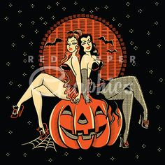 Halloween pinup twins clipart