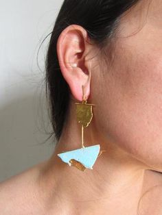 Torn Gold and Turquoise Enamel Earrings Jewelry Art, Fine Jewelry, Jewelry Accessories, Mens Fashion, Style Fashion, Stylists, Enamel, Turquoise, Drop Earrings