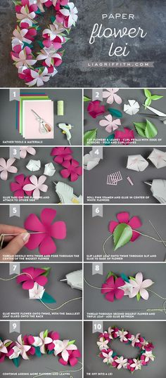 Paper flower lei - Diy and Crafts Handmade Flowers, Diy Flowers, Fabric Flowers, Bouquet Flowers, Flowers Garden, Pretty Flowers, Flower Lei, Flower Crafts, Diy Paper