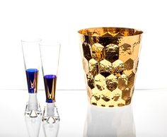 Tank Champagne Glasses & Hex Champagne Bucket