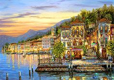 SUTEGISUPE Mediterranean Light Landscape Art Decor Picture Room Hanging Canvas Painting Light Seascape Home Decorations