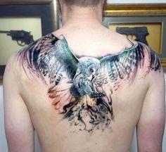 Owl tattoo on back new school by Marya Tyurpeko