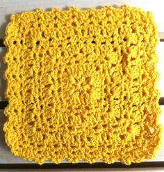 Sunny Square Crochet Dishcloth ~ free pattern
